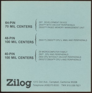 Zilog Packages - Z8 Z80 Z800 and Z8000
