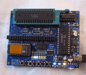 MCS-80 Test board in one of the 4 test modes, showing the blue LEDs, and Power Supply indicator LED's