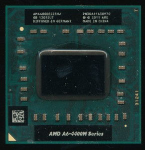 AMD A6-4400M - 2 'cores' with shared FPU and cache.