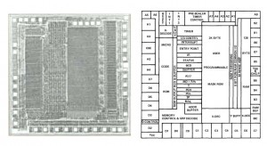 TMS7000 SCAT Layout. Notice the 'strips' that form the different sections of the MCU (click to enlarge)