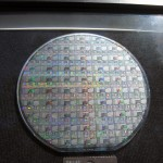87C520 Test Wafer - MCU dies are interspersed with test patterns and SRAM cells.
