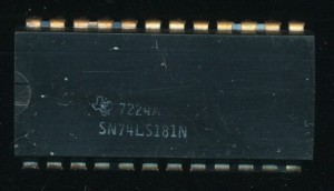 TI SN74LS181N - 1972  - 4-bit ALU.  Used in a similar role, but required a lot more support logic.