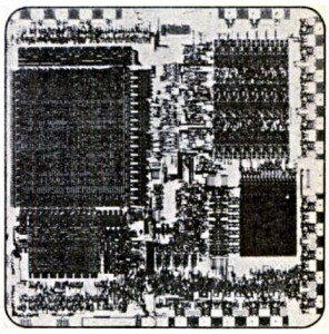 Signetics SPC-16 die - Showing extensive microcode (nearly the entire left side of the die).
