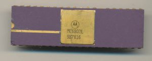 Motorola MC6802L - Dated March of 1978. The 6802 had 64-bytes of RAM and no ROM.