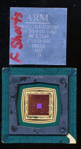 ARM926EJ on a UMC 0.13u Process. THe package has a removable die cover.  Note the large die, thought he processor core itself is very small (its in the upper left)